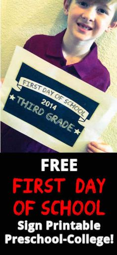 Free First Day of School Signs! From preschool to college, print off a sign for your child's first day of school and take a photo! Great way to capture this back to school milestone.