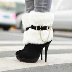 HOT Fashion woman sexy Synthetic rabbit fur high-heeled winter boots shoes