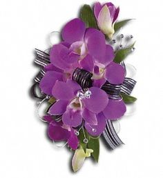 CORSAGE Purple Dendrobium Orchids accented with Eucalyptus & Ruscus.