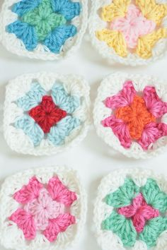 afghans, mini granny square patterns, color combos, granny squares, granni squar, blankets, mason jars, bright colors, mini granni
