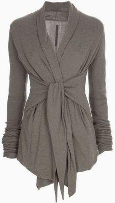 Long Sleeves Grey Wrap Up Cardigan