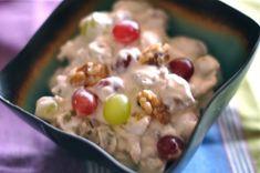 food, toast walnut, yummi, recip, walnuts, salads, grape salad, dessert, cream chees