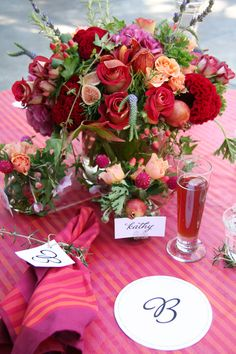 pretty tablecloth and arrangement