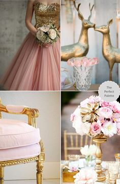 Now Trending: Shades of Pink + Gold http://www.theperfectpalette.com/2013/11/now-trending-shades-of-pink-gold.html