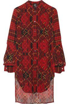 McQ Alexander McQueen Pleated plaid silk-crepe dress   THE OUTNET
