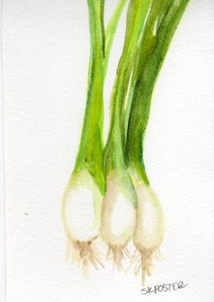 4 x 6 Original Green Onions  Painting by SharonFosterArt on Etsy, $9.00