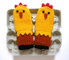 Here is a fun and warm pair of hand-knit Chicken Mittens. These chickens are soft, colorful, and very well made.    The design is my own. They are