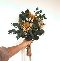 Mustard yellow boho wedding bouquet made of preserved flowers - stays fresh up to 10 years!
