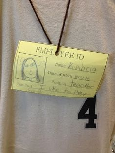 students researched jobs and then wore employee badges to match their choice of job for the week