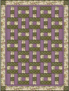 3 fabric quilt LILY & PEONY HOPSCOTCH 3 YD QUILT KIT / 135