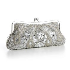 #vintage #fashion #bridal This Silver bridal purse makes me think of champagne and vintage lace. $64.99