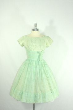 1950's Vintage Dress  The BEST Mint Green Chiffon Flocked Full Skirt Party Prom Frock by VintageFrocksOfFancy