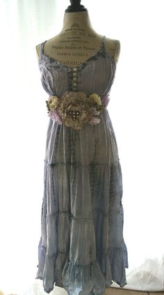 Gypsy cowgirl Slip Dress romantic boho Farm by TrueRebelClothing