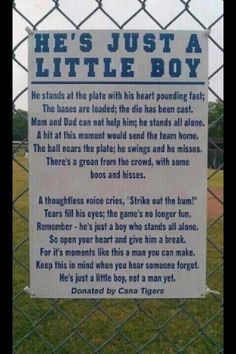 Remember.... He's just a little boy ❤. I saw this sign months ago, and I love it!