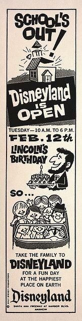 Disneyland is Open Lincoln's Birthday, 1963 MouseTalesTravel.com