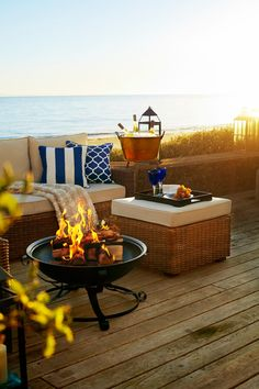 Gather around our dramatic Zira Fire Pit Table during cool summer nights