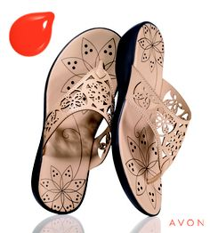 Pair your favorite shade of orange with a neutral-colored sandal. Laser-Cut Wedge and Orange you Quick nailpolish.  Serving ALL the USA with Direct Delivery to your Home. :) ORDER at www.YourAvon.com/cvmack Click on shop tab and then quick search items: 584005 & 625030
