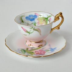 Miniature Demitasse Cup and Saucer Pink and Blue  from Just Vintage