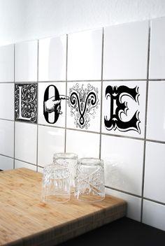 "Fliesen Aufkleber ""Love"" // tile sticker by boubouki via dawanda.com"