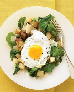 Warm Spinach Salad with Fried Egg and Potatoes Recipe...maybe I can find a substitute for the potatoes for my low carb diet?