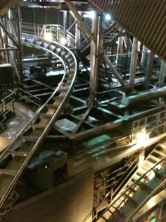 Inside Space Mountain with the lights on.