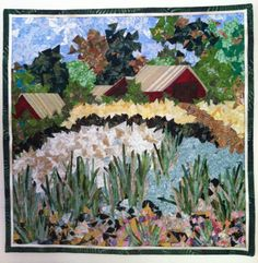 """Confetti quilt. 14""""X14"""" """"Yesterday's Farm"""" Created and machine quilted by Meriul Easton, April, 2013"""