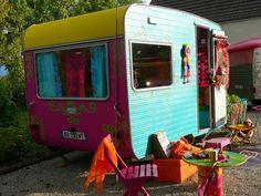 Colorful vintage camper Trailer