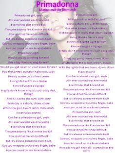 Marina and the Diamonds Primadonna Lyrics Sheet