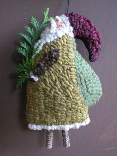 Hooked Primitive Santa hook rug, folk art, primit santa, hook primit, rughook, hooked christmas ornaments, rugs, primitive, rug hooking