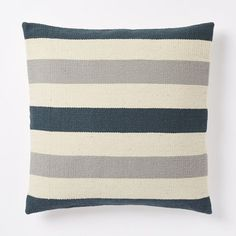 NEW! Part of our Steven Alan collaboration, Peruvian artisans used a foot pedal-driven loom to handweave this Bold Stripe Pillow Cover. Made from pure wool, its subtle texture and cool palette are a welcome addition to any sofa.