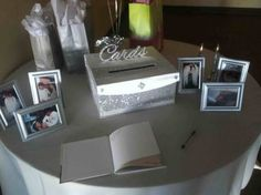 Since all we are asking is for cards from the guests; this would be perfect. (minus all the other things on table) Not sure where to put? Cardbox for  25th Anniversary Party :  wedding inspiration reception silver white Cardbox