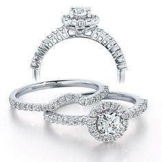 1 CT. T.W. Diamond Frame Bridal Set in 14K White Gold - Zales...im usually one for round diamonds but i really love this one!