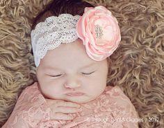 lace headband, newborn lace, satin flower, flower clips, photo prop, headbands, flowers, flower girls, prom headband