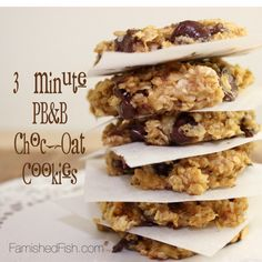 3 Minute PB&B Choc-Oat Cookies - Peanut Butter Banana Chocolate Chip Oatmeal Cookies -and those are all the ingredients