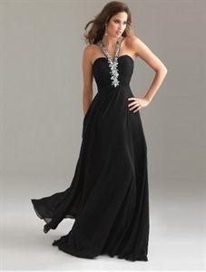Long Black Chiffon Bridesmaid Dress, Elegant Black Evening Gowns