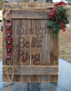 pallet signs christmas, christmas pallet signs, sleigh bell, barn doors, bell ring, christma larg, mantl sign, door bells, old barns