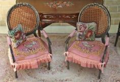 Miniature French chairs-the cushion and the pillows are gorgeous.