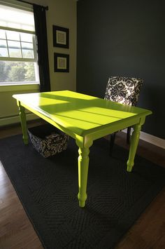 lime green paint, furniture office, office colors green, green paint colors lime, lime green table, colorful table, bright colors, green office decor, old table