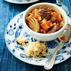 Spiced Beef Stew with Sweet Potatoes | A chuck roast paired with sweet potatoes and butternut squash will hit the spot on the chilliest winter nights. | SouthernLiving.com