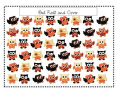 FREE: Cute Owl or Halloween Roll and Cover Game