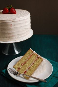 Strawberry Champagne Layer Cake from @jen