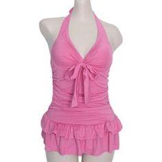 Sweet Halterneck Ruffled Bow Pink Women's Swimsuit