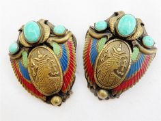 Antique Deco Czech Max Neiger Egyptian Revival Filigree Rare Pair Of Dress Clips