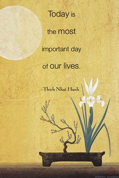 """""""Today is the most important day of our lives."""" ~ Thich Nhat Hanh"""