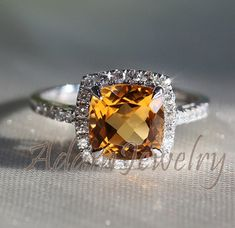 Gorgeous Halo 8mm Cushion Cut Citrine Ring 10k by AdamJewelry, $468.00 Ring 10K, Cut Citrin, Anniversary Rings, Citrin Ring, White Gold, Engag Ring, Cushion Cut