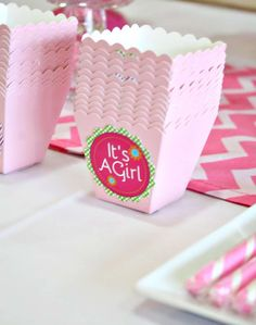 Favor boxes at a Baby Shower Party!  See more party ideas at CatchMyParty.com!