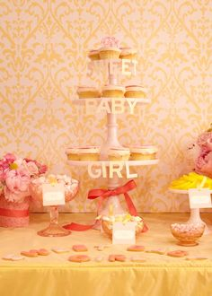 sweet baby girl lettering on cake stand