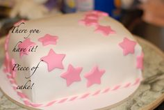 Decorating a cake with fondant.