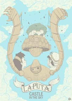hayao miyazaki, studio ghibli, studios, art prints, castles, laputa castl, sky art, anime, posters
