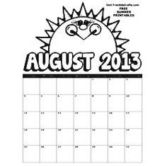 2013 August Printable Coloring Calendar A  new calendar every month to keep the kids on track on freekidscrafts.com